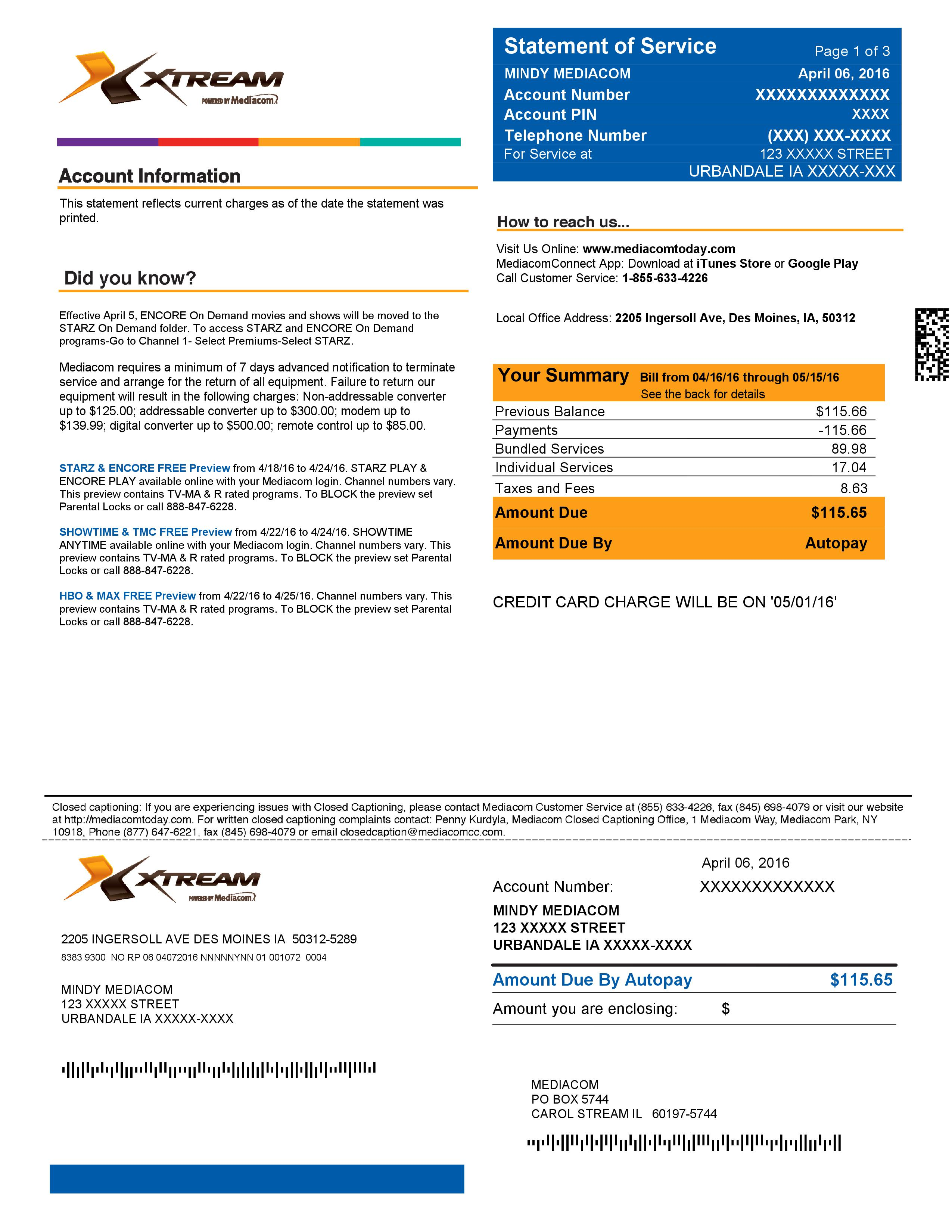 Mediacom's New Billing Statement Overview